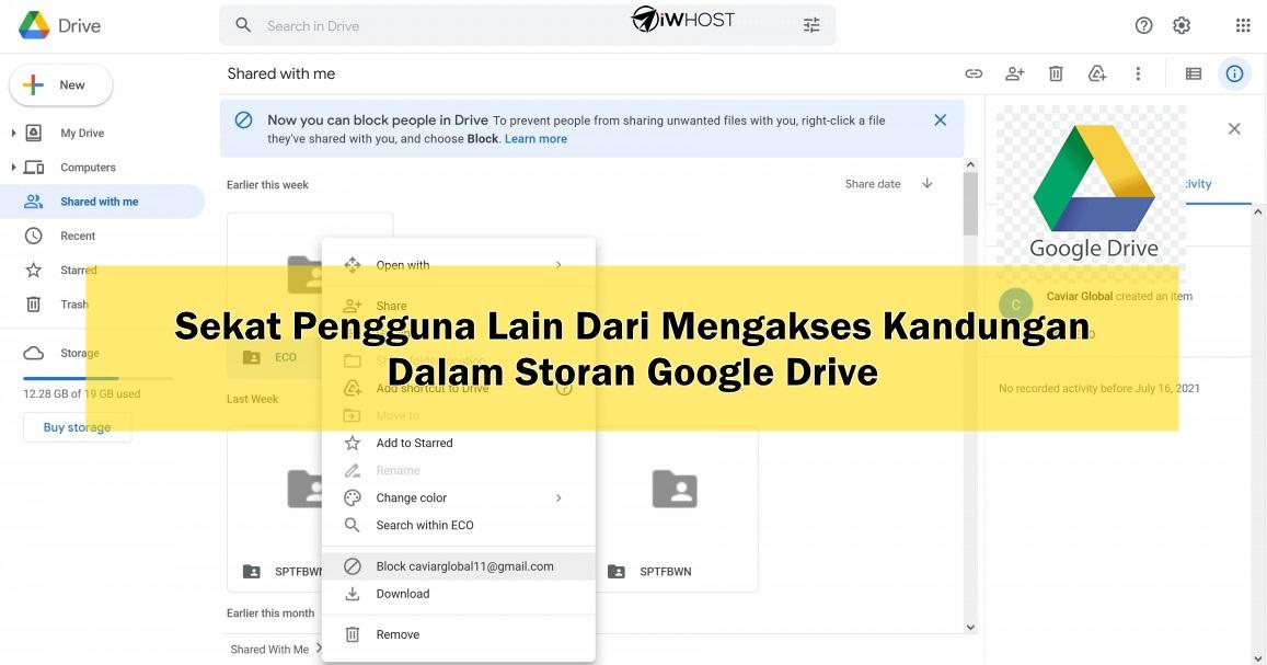 Cara Sekat Pengguna Lain Dari Mengakses Kandungan  Dalam Storan Google Drive